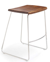 City Lights Paris Bamboo Backless Counter Stools Exotic Cognac & Steel - YourBarStoolStore + Chairs, Tables and Outdoor  - 1