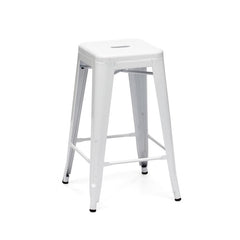 Dreux Glossy White Steel Stackable Counter Stool 26 Inch