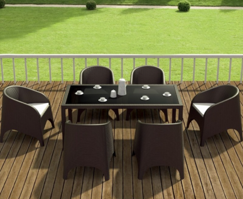 Compamia Ares Resin Rectangle Dining Set with 6 chairs Brown ISP1861S-BRW