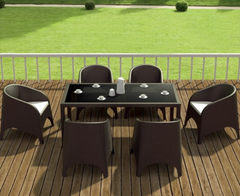 Compamia Ares Resin Rectangle Dining Set with 6 chairs Brown ISP1861S-BRW - YourBarStoolStore + Chairs, Tables and Outdoor