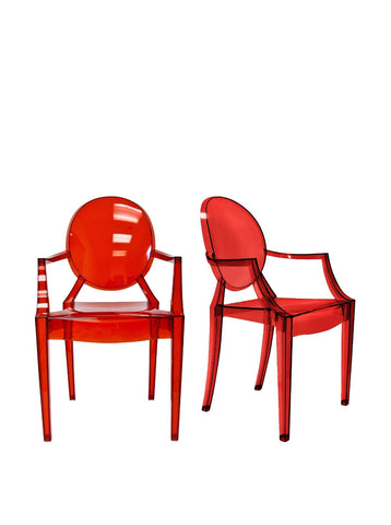 Aeon Specter Arm Chair AE8072-Clear Red (Set of 2)