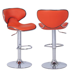 Bareneed Orange Modern Bar Stools with Backs (Set of two) - YourBarStoolStore + Chairs, Tables and Outdoor  - 1
