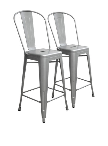 Aeon Garvin Counter Stool  Bar Stool AE3504-26-8-Silver (Set of 2)