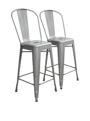 Aeon Garvin Counter Stool  Bar Stool AE3504-26-8-Silver (Set of 2) - YourBarStoolStore + Chairs, Tables and Outdoor