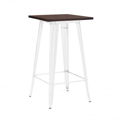 Dreux Glossy White Elm Wood Steel Bar Table 42 Inch