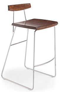 City Lights Paris Bamboo Bar Stools Exotic Cognac & Steel