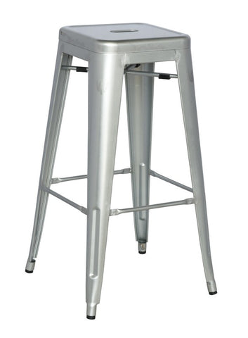 Chintaly Galvanized Steel Bar Stool 8015-BS-SLV Set of 4
