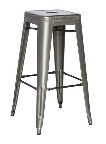 Chintaly Galvanized Steel Counter Stool 8015-CS-GUN Set of 4