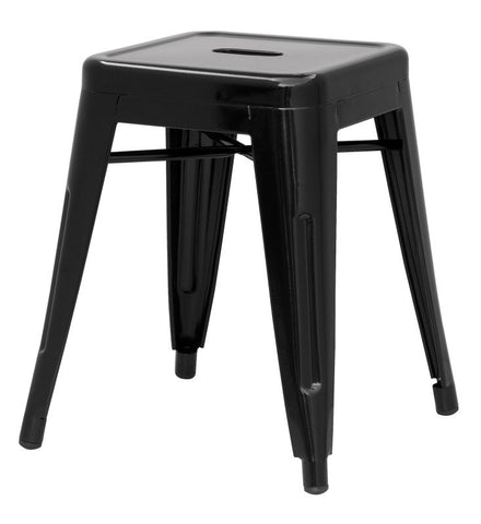 Chintaly Galvanized Steel Side Chair 8018-SC-BLK Set of 4
