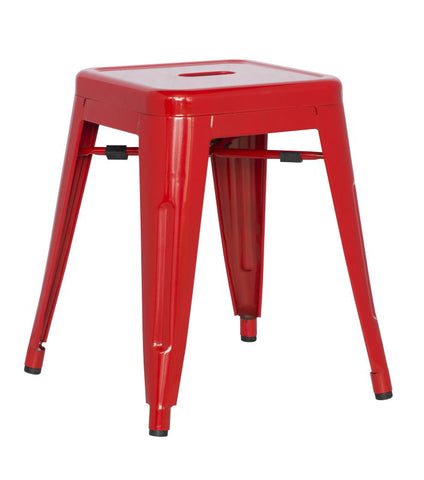 Chintaly Galvanized Steel Side Chair 8018-SC-RED Set of 4