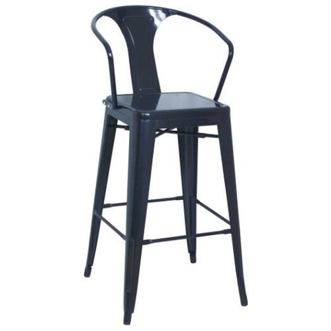 Chintaly Galvanized Steel Bar Stool 8020-BS-BLK Set of 4