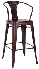 Chintaly Galvanized Steel Bar Stool 8020-BS-COP Set of 4 - YourBarStoolStore + Chairs, Tables and Outdoor