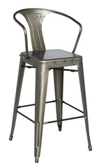 Chintaly Galvanized Steel Bar Stool 8020-BS-GUN Set of 4 - YourBarStoolStore + Chairs, Tables and Outdoor