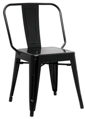 Chintaly Galvanized Steel Side Chair 8021-SC-BLK Set of 4 - YourBarStoolStore + Chairs, Tables and Outdoor
