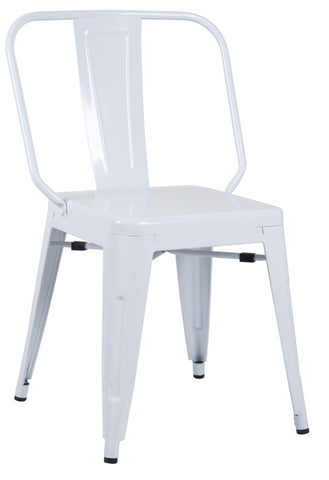 Chintaly Galvanized Steel Side Chair 8021-SC-WHT Set of 4