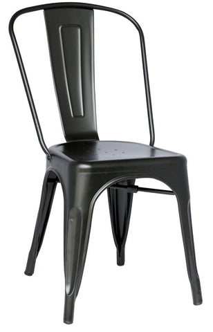 Chintaly Galvanized Steel Side Chair 8022-SC-BLK Set of 4