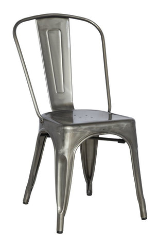 Chintaly Galvanized Steel Side Chair 8022-SC-GUN Set of 4