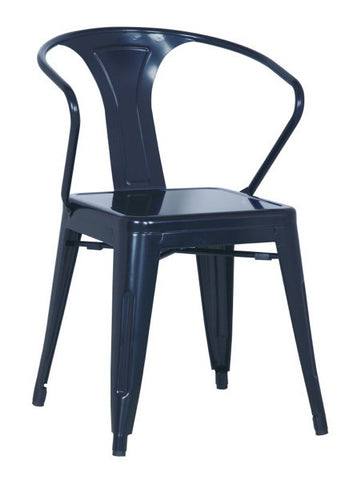 Chintaly Galvanized Steel Side Chair 8023-SC-BLK Set of 4
