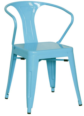 Chintaly Galvanized Steel Side Chair 8023-SC-BLU Set of 4