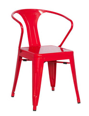 Chintaly Galvanized Steel Side Chair 8023-SC-RED Set of 4 - YourBarStoolStore + Chairs, Tables and Outdoor