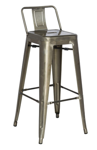 Chintaly Galvanized Steel Bar Stool 8030-BS-GUN Set of 4