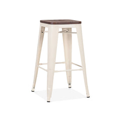Dreux Glossy Cream Elm Wood Steel Stackable Counter Stool 26 Inch