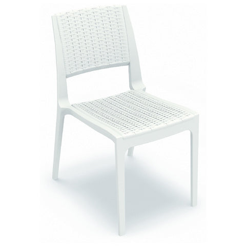 Compamia Verona Resin Wickerlook Dining Chair White ISP830-WH