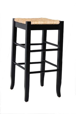 Boraam 29Inch Sq Rush Stool Black 94929