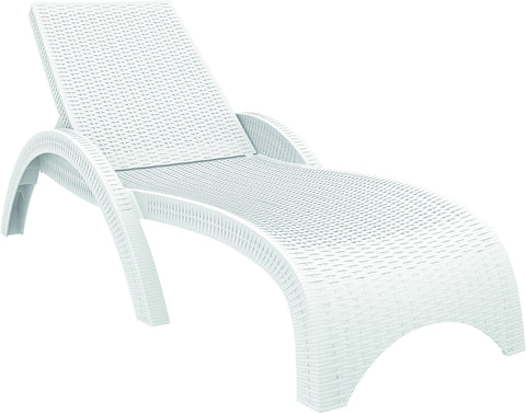 Compamia Miami Resin Wickerlook Chaise Lounge White ISP860-WH