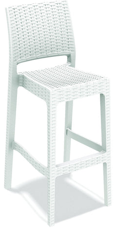 Compamia Jamaica Resin Wickerlook Barstool White ISP866-WH