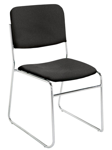 Ebony Black on Chrome 8600 Signature Fabric Padded Stack Chairs 8660