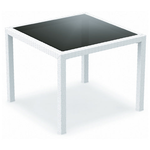 Compamia Miami Resin Wickerlook Square Dining Table White 37 inch ISP870-WH