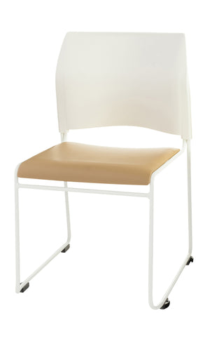 Beige Vinyl Seat with White Vinyl Back on Chrome 8700 Series Stack Chair 8721-01-21