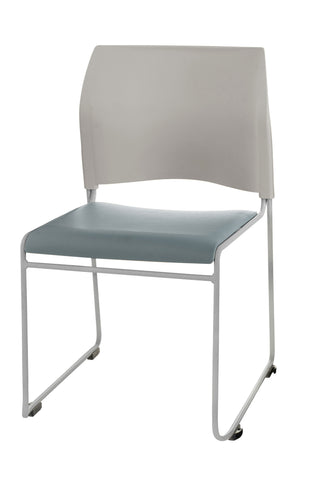 Blue/Grey Vinyl Seat with Grey Back on Chrome 8700 Series Stack Chair 8742-12-02