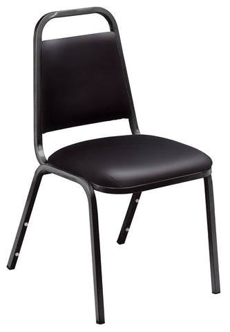 Black Vinyl on Black Frame 9100 Standard Vinyl Padded Stack Chairs 9110-B