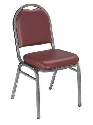 Burgundy Vinyl on Silvervein Frame 9200 Dome Vinyl Padded Stack Chairs 9208-SV