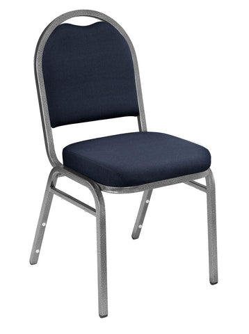 Midnight Blue Fabric on Silvervein Frame 9250 Padded Stack Chairs 9254-SV