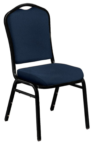 Midnight Blue on Black Santex Frame 9350 Silhouette Fabric Padded Stack Chairs 9354-BT
