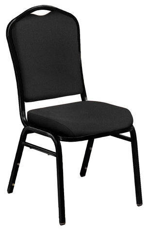 Ebony Black on Black Santex Frame 9350 Silhouette Fabric Padded Stack Chairs 9360-BT