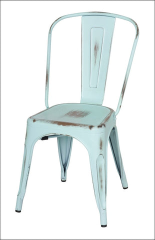 Metropolis Metal Side Chair, Distressed Blue