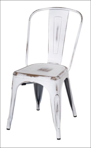 Metropolis Metal Side Chair, Distressed White