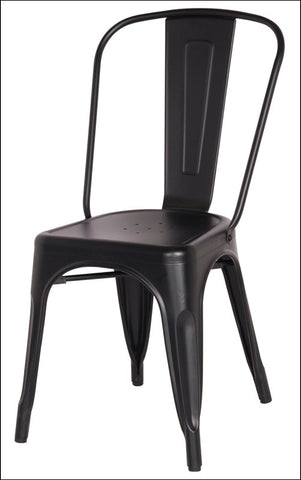 Metropolis Metal Side Chair, Frosted Black