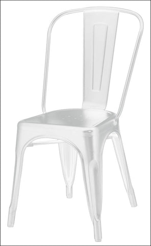 Metropolis Metal Side Chair, Frosted White