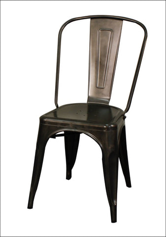 Metropolis Metal Side Chair, Gunmetal