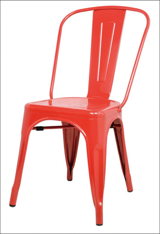 Metropolis Metal Side Chair, Red