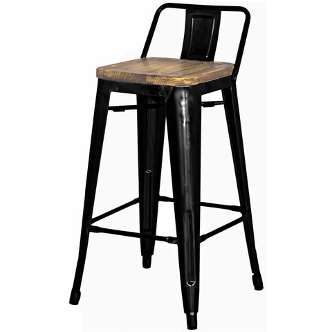 Metropolis Low Back Counter Stool Wood Seat, Black