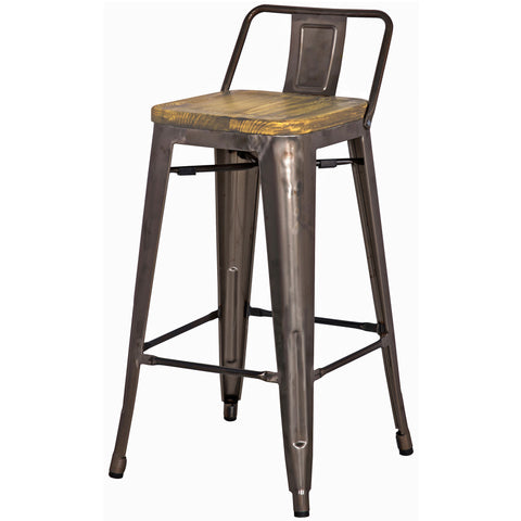 Metropolis Low Back Counter Stool Wood Seat Gunmetal On
