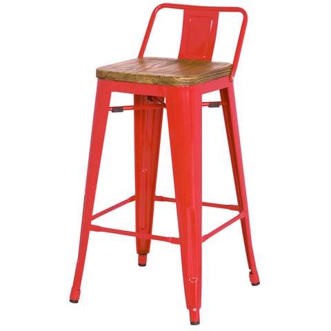 Metropolis Low Back Counter Stool Wood Seat, Red
