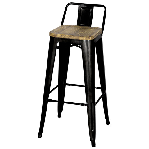 Metropolis Low Back Bar Stool Wood Seat, Black