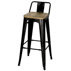 Metropolis Low Back Bar Stool Wood Seat, Black - YourBarStoolStore + Chairs, Tables and Outdoor